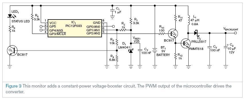 有些微控制器允许在一个低于3v的供给电压下进行操作。这项功能允许直接从没有电压降和漏电流的3v碱性或者锂性电池上加电。这个监控电池电压是十分重要的,来确保系统的完整性。在这个设计理念下的电路通过调节推进功率转换器的占空系数来给白色LED背光持续加电。然而,一个ADC通常需要一个固定的基准电压(图一),ADC的这个功能需要2个输入引脚。这个设计理念彻底的颠倒了ADC的建筑结构,不用外部引脚就可以提供基准电压的功能。 监控电路如图2在微控制器里面与一个ADC整合到一起。该转换器使用的电池电压当作基准电压。这一