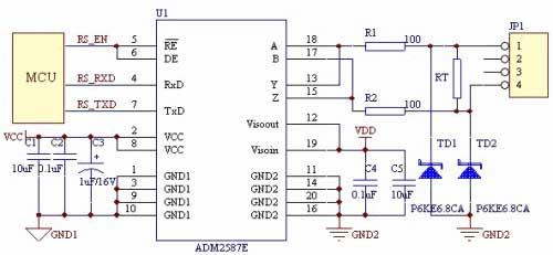 完全集成式adm2582e/adm2587e隔离数据收发器