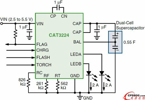 超级电容led驱动器cat3224应用电路图