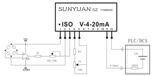产品特点:   二线制传感器电压信号隔离配电转换  精度误差等级:非隔离型0.1级;隔离型0.2级  内置线性化处理和长线补偿电路(非线性度<0.05%)  信号输入与输出3KVDC隔离(全隔离型)  给传感器供电电压范围12-32VDC   输入等效电阻小、线性度高  低成本、小体积IC封装和DIN35导轨安装方式  工业级温度范围:- 40 ~ + 85  典型应用:  PLC/DCS从传感器直接获取电压信号  位移、电位器信号采集隔离与控制  工业现场地线干扰抑制  称