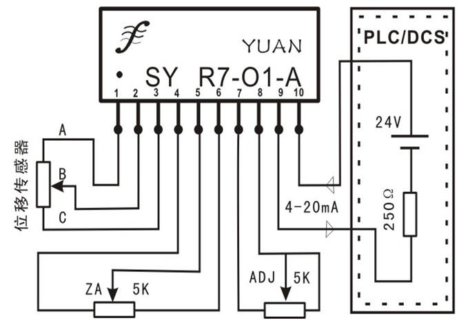 位移传感器电压信号无源配电放大典型应用图