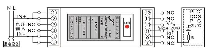 交流电压信号输入,二线制4-20ma回路馈电输出方式