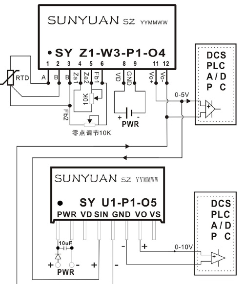 pt100,cu50热电阻信号两隔离变送器:sy