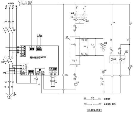 图中电动机保护器95,96是综合保护器过负荷