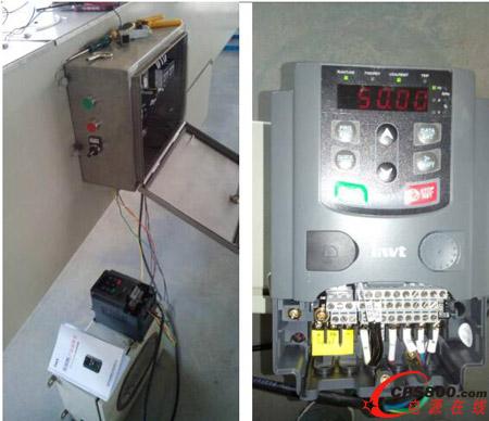 使用英威腾变频器控制的调试用临时控制盒接线照片