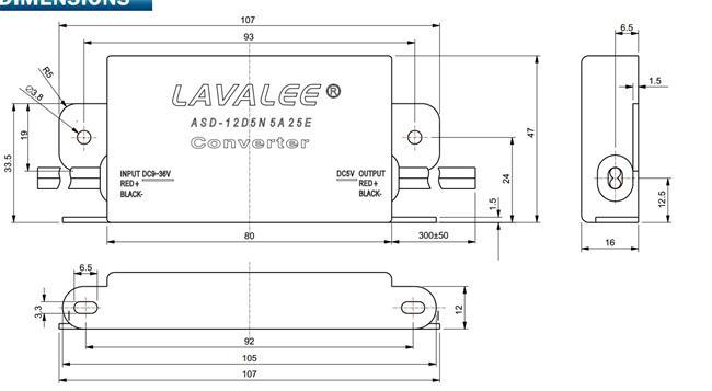 dc12v24v降dc5v5a25w降压非隔离超薄